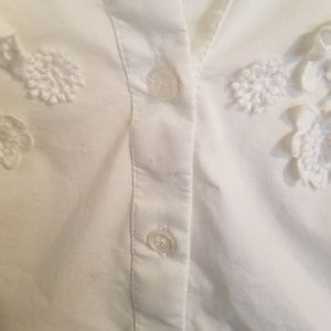 New York & Company Tops - Floral Applique Button Down Shirt